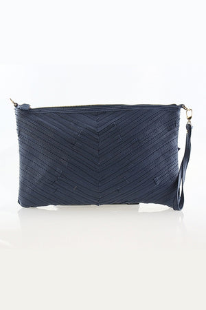 Navy Leather Clutch