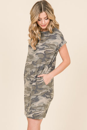 Over the Moon Camo Shirt Dress