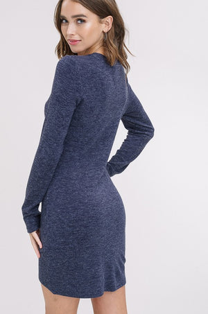 Casual Love Knit Dress Blue