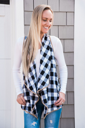 Dare Greatly Plaid Drape Vest