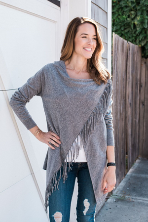 She+Sky Grey Fringe Sweater