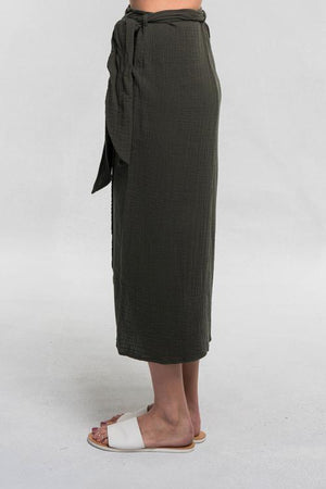 Lovely Lola Olive Wrap Skirt