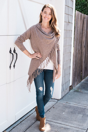 She+Sky Mocha Fringe Sweater