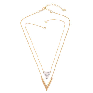 Double pendant triangle necklace