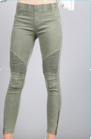 Moto Jegging w/ Ankle Zip Olive
