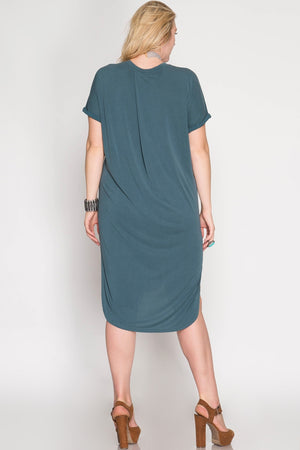 She + Sky Plus Size Cupro T-Shirt Dress