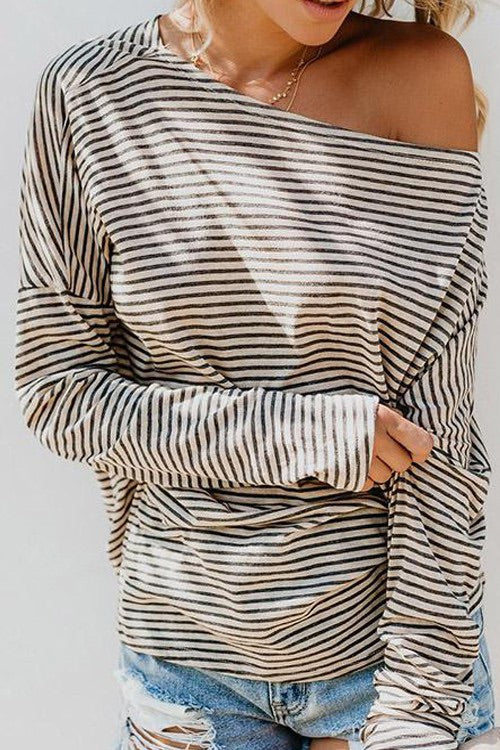 Celeste Off the Shoulder Striped Knit
