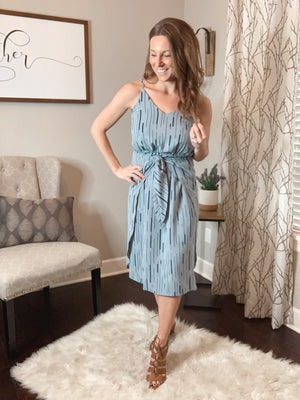 Dusty Blue Tie Wrap Dress