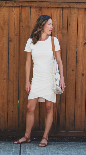 Pamela Ruched Shirt Dress - White