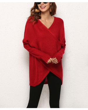 Drop Shoulder Wrap Sweater Red