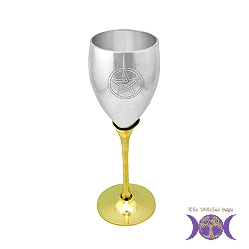 Pentagram Silver Plated Altar Chalice with Brass Stem