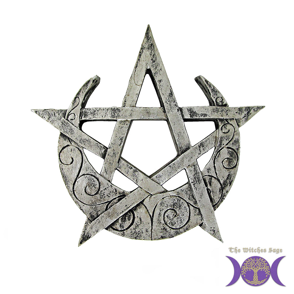Crescent Moon Pentacle Plaque