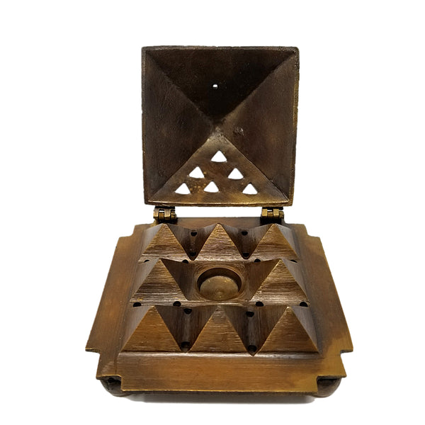 Solid Brass Egyption 9 Pyramid Cone Burner