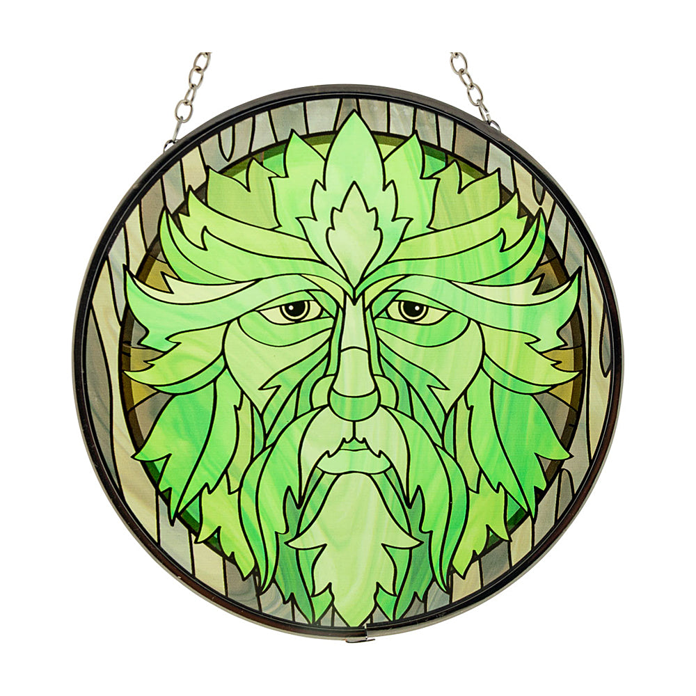 Green Man Glass Suncatcher