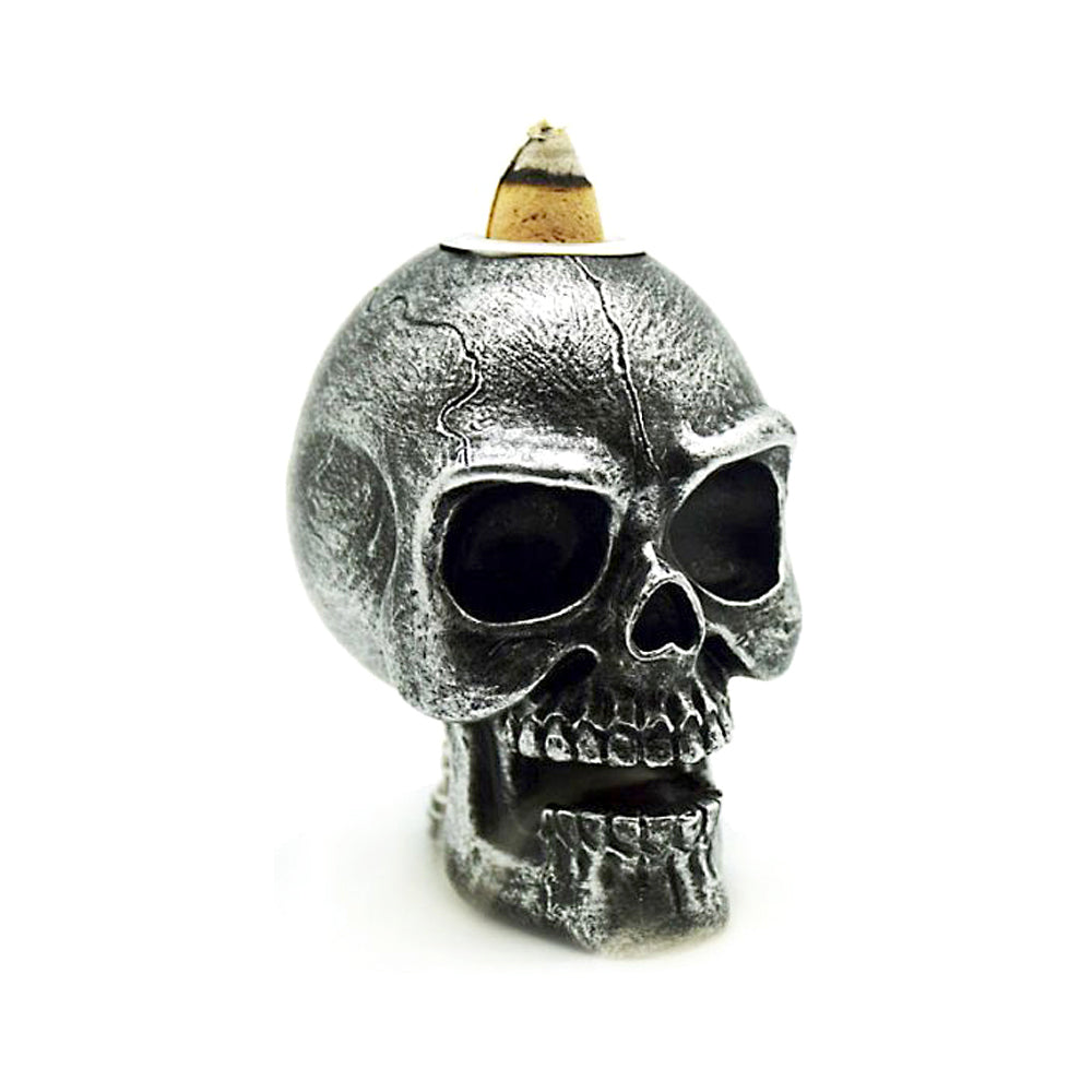 Mini Silver Skull backflow burner