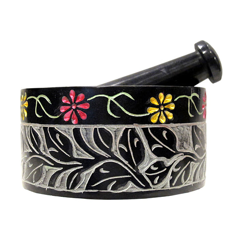 Mortar & Pestle - Black Floral