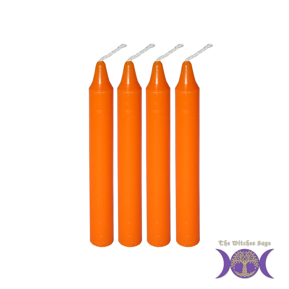 Mini Ritual Candle - Orange (Set of 4)