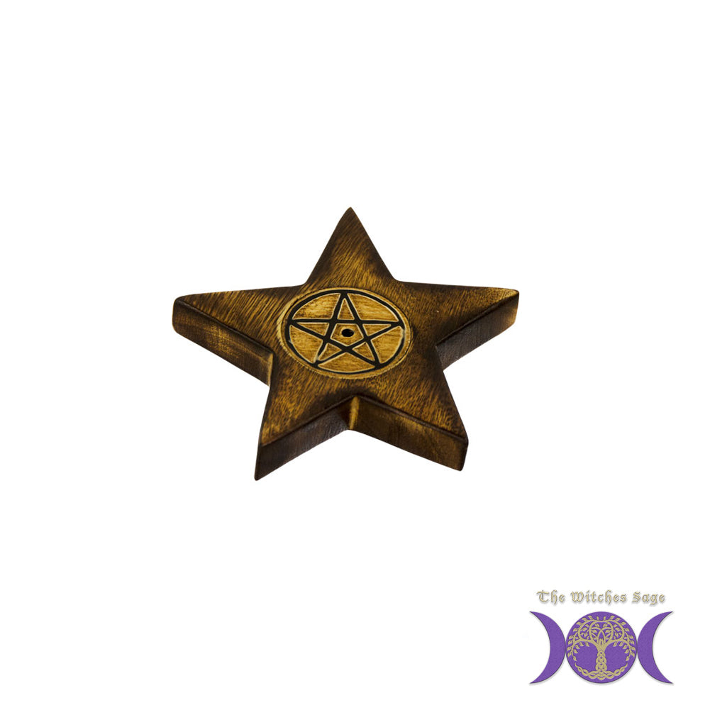 Pentacle Wooden Incense Burner