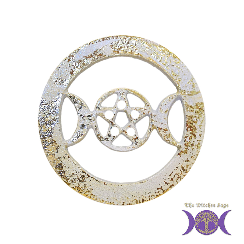 White w/Gold Triple Moon Pentagram Metal Altar Tile Silver Plated over Solid Brass
