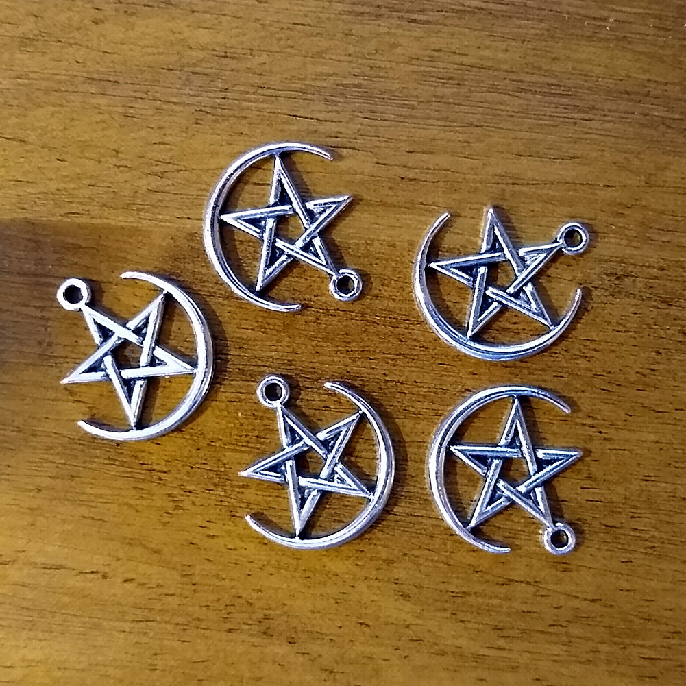 Pentagram within Half Moon Charm