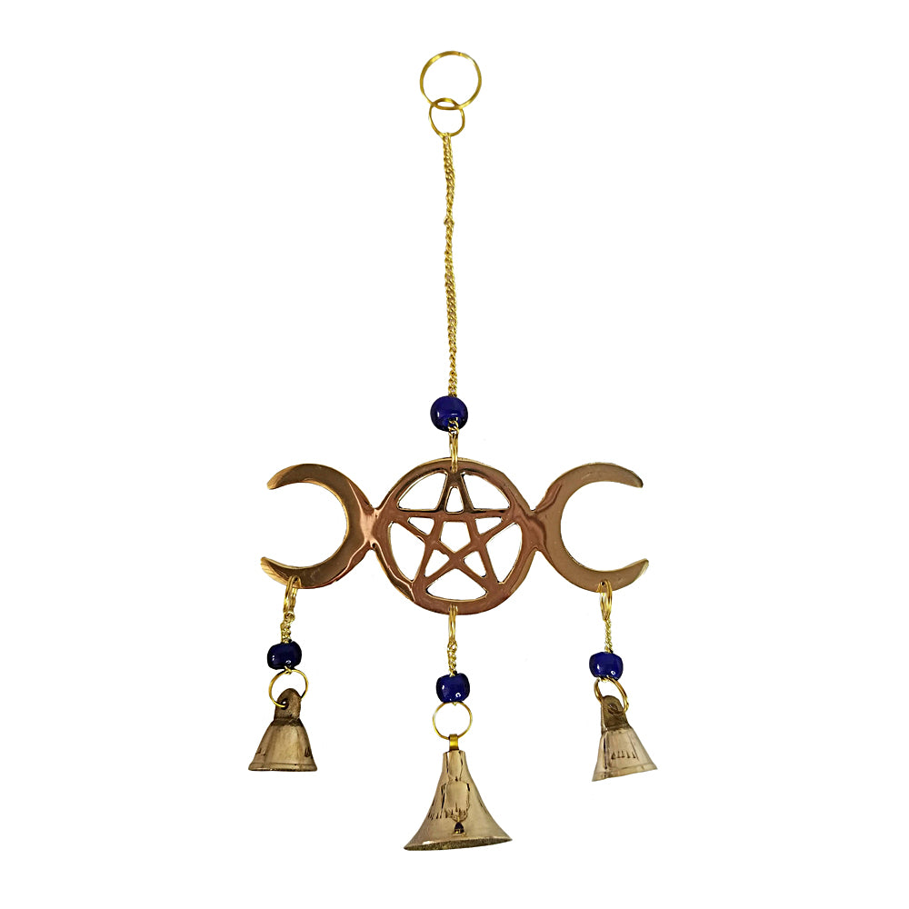 Triple Moon Pentacle Hanging Bells