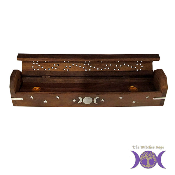 Triple Moon Wood Incense Burner