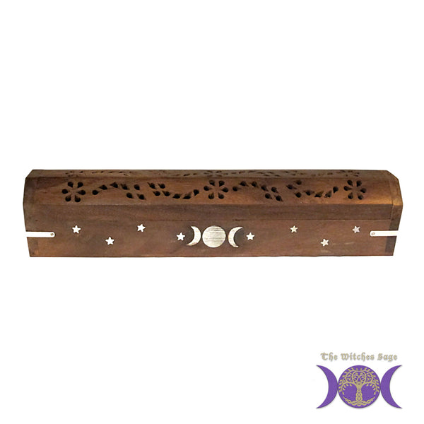 Triple Moon Wood Incense Box Burner
