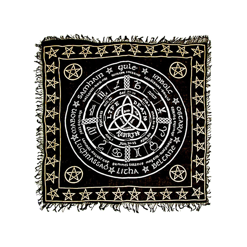 "Triquetra Pentacle in Gold & Silver Altar Cloth 36"" x 36"""