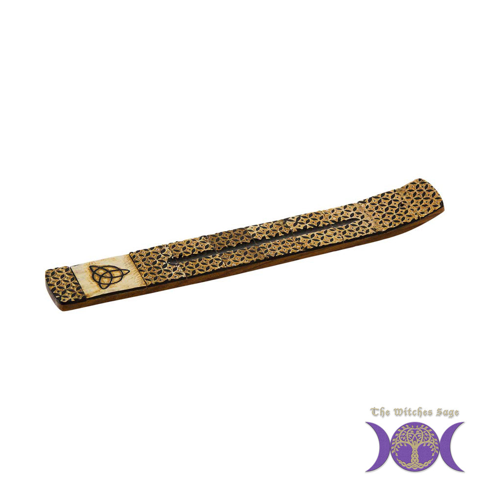 Triquetra Horn & Wood Incense Holder