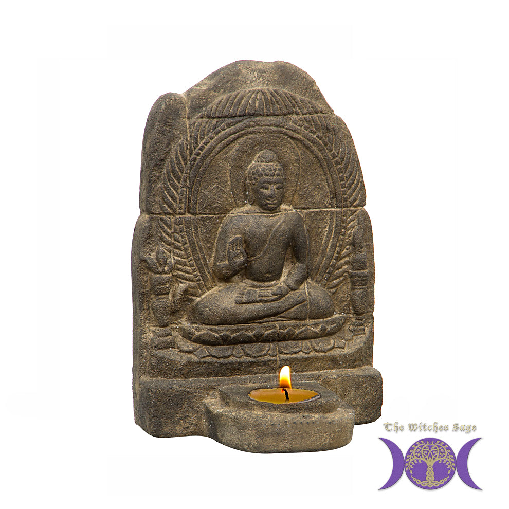 Volcanic Stone Statue & Tea-Light Holder Meditating Buddha