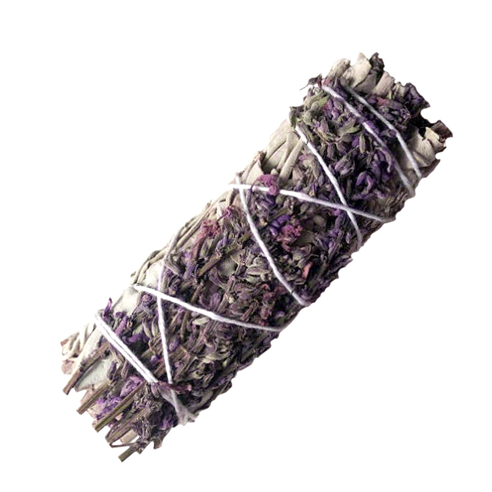 "White Sage & Purple ""Royal"" Lavender Flower Smudge Stick"