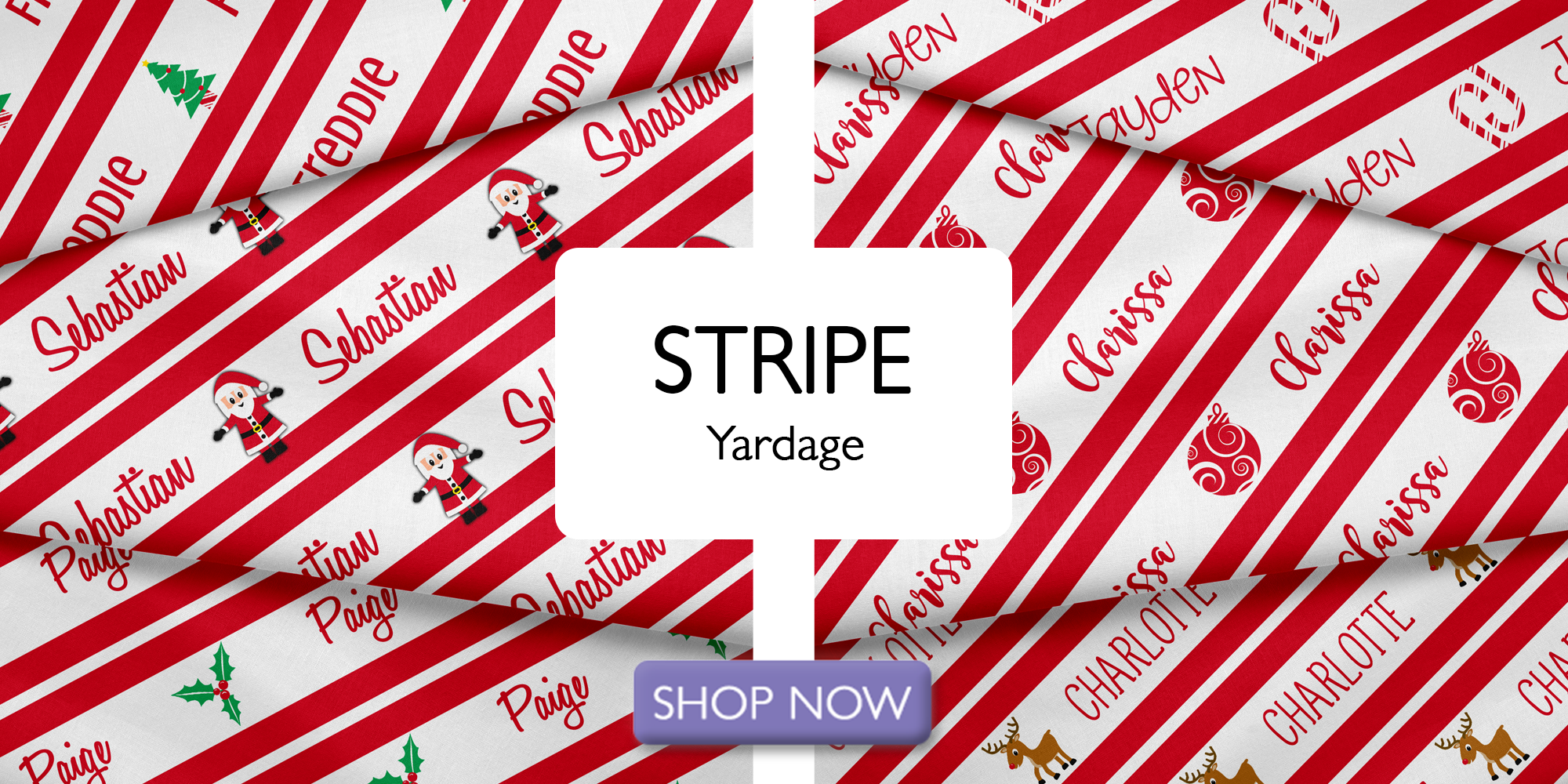 Christmas Stripe Personalized Name Fabric