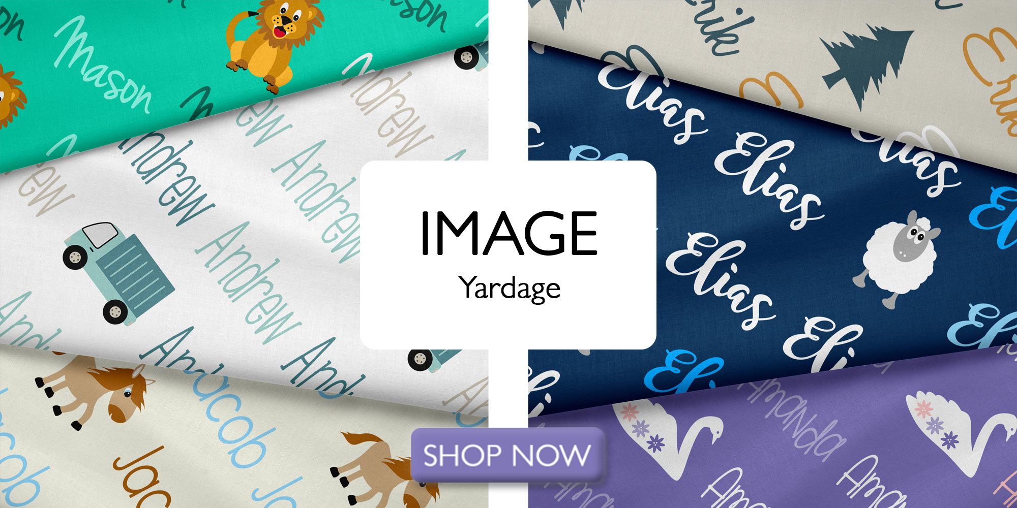 Diagonal Image Personalized Name Fabric