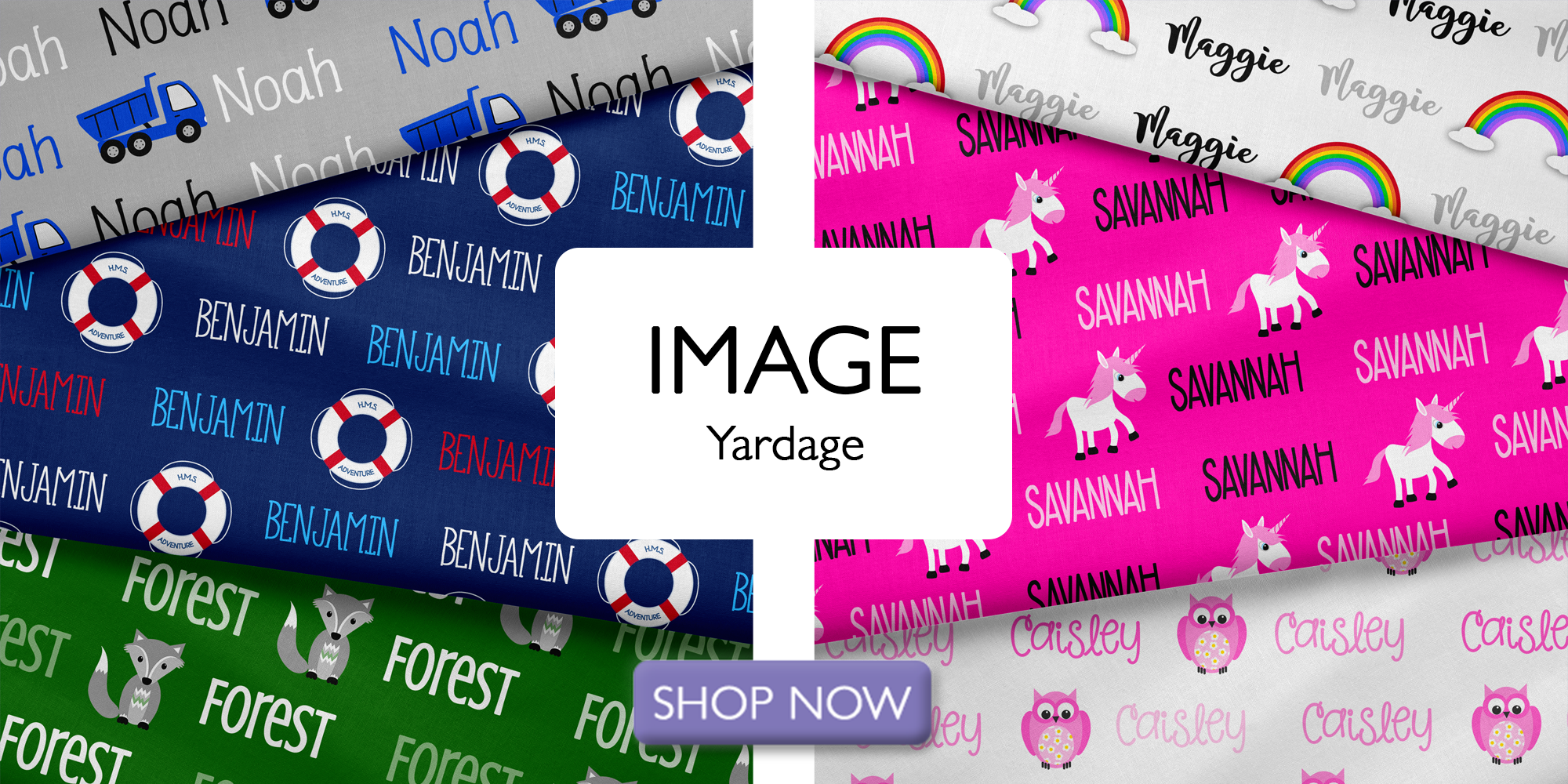 Horizontal Image Personalized Name Fabric