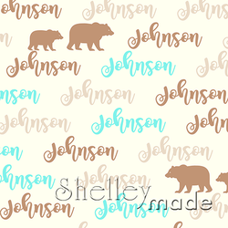 ShelleyMade Personalised Name Design Fabric Brush Image - Grizzly Bear