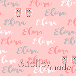 ShelleyMade Personalised Name Design Fabric Brush Image - Owl Daisy