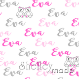 ShelleyMade Personalised Name Design Fabric Brush Image - Teddy Bear Girl