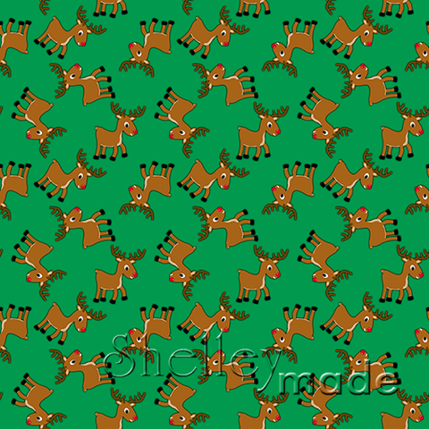 Christmas Coordinate - Reindeer Scattered Green
