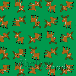 Christmas Coordinate - Reindeer Structured Green