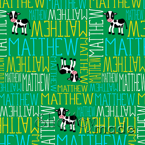 ShelleyMade Personalised Name Design Fabric Nested Image - Cow