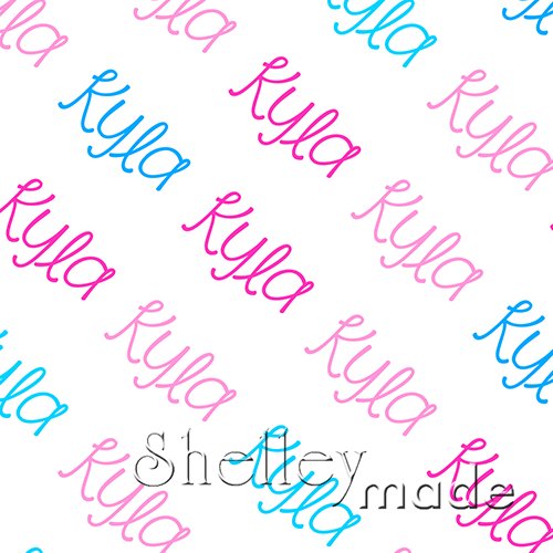 ShelleyMade Personalised Name Design Fabric Diagonal - Playful