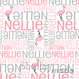 ShelleyMade Personalised Name Design Fabric Nested Image - Flamingo