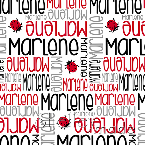 ShelleyMade Personalised Name Design Fabric Nested Image - Ladybird