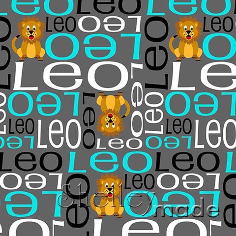 ShelleyMade Personalised Name Design Fabric Nested Image - Lion