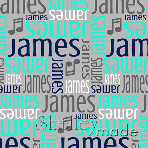 ShelleyMade Personalised Name Design Fabric Nested Image - Music Note