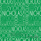 ShelleyMade Personalised Name Design Fabric Christmas Nested Green