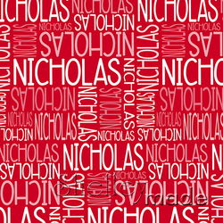 ShelleyMade Personalised Name Design Fabric Christmas Nested Red