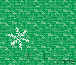 Christmas Santa Sack Panel - Typographic Green