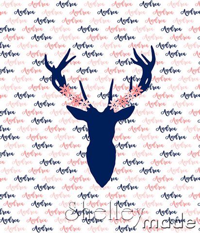 Brush Panel - Stag Head Floral