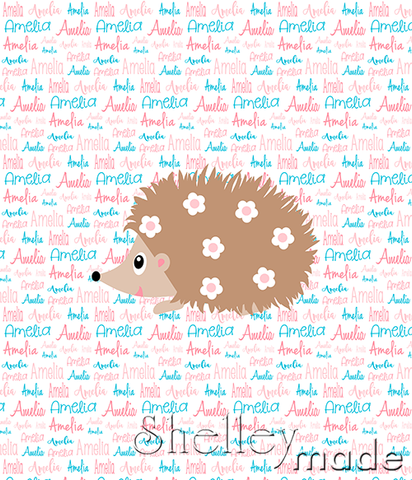 Typographic Panel - Hedgehog Girl